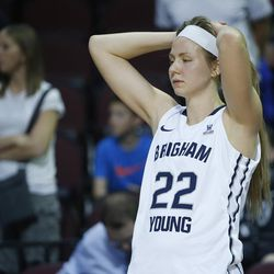 Brigham Young Cougars guard/forward Kristine Fuller Nielson (22) stands on the sideline after losing to the San Francisco Lady Dons during the WCC tournament championship in Las Vegas Tuesday, March 8, 2016. San Francisco won 70-68.