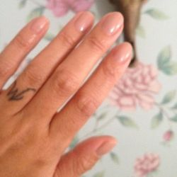 After a summer full of bedazzled gel manis, I've decided to go more minimal. I find it refreshing! This color is Au Natural by <b>Essie</b>. It's an opaque natural shade that blends into my skin tone. Love it!
