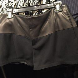 Leather combo shorts