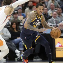Utah Jazz guard Jordan Clarkson (00) dribbles during an NBA game against the Phoenix Suns at the Vivint Smart Home Arena in Salt Lake City on Monday, Feb. 24, 2020.