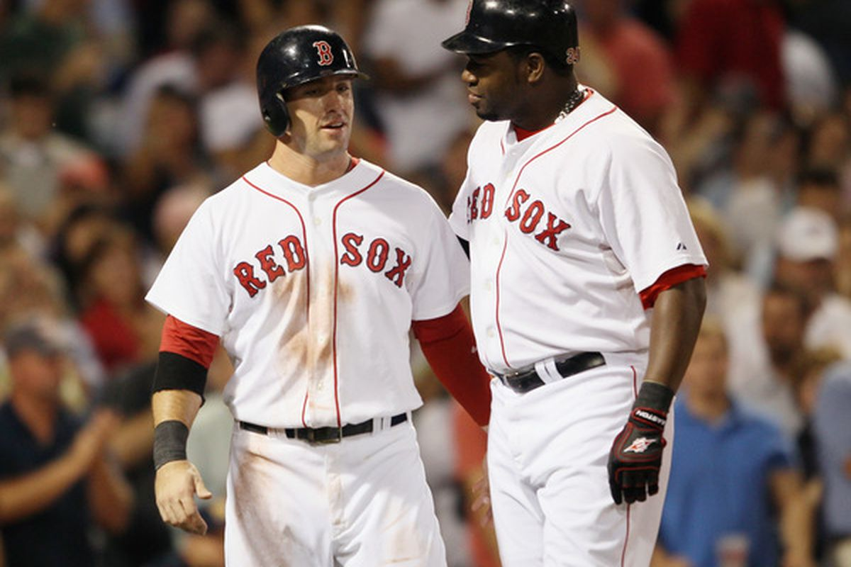 Boston: Ryan Kalish #55 of the Boston Red Sox congratulates teammate David Ortiz #34 after Ortiz hit a 3 RBI home run in the fourth inning against the Baltimore Orioles at Fenway Park in Boston Massachusetts.  (Photo by Elsa/Getty Images)
