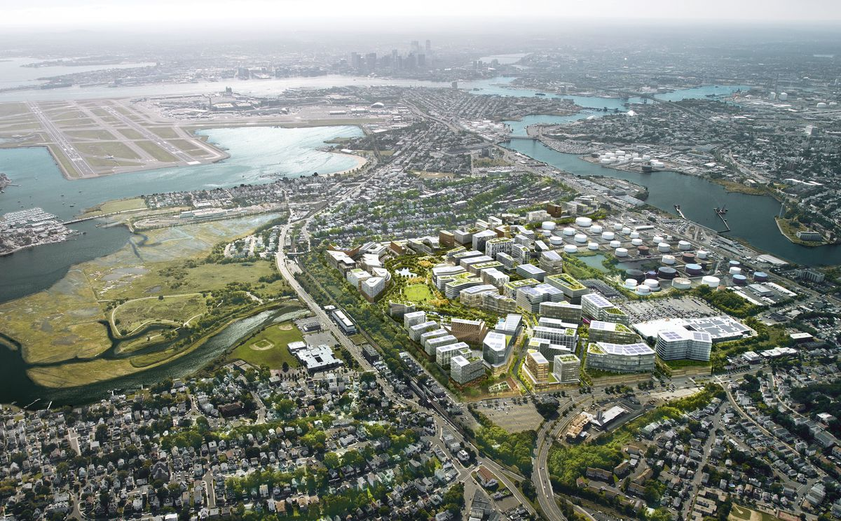 Aerial rendering of a development with several buildings by a coastline.