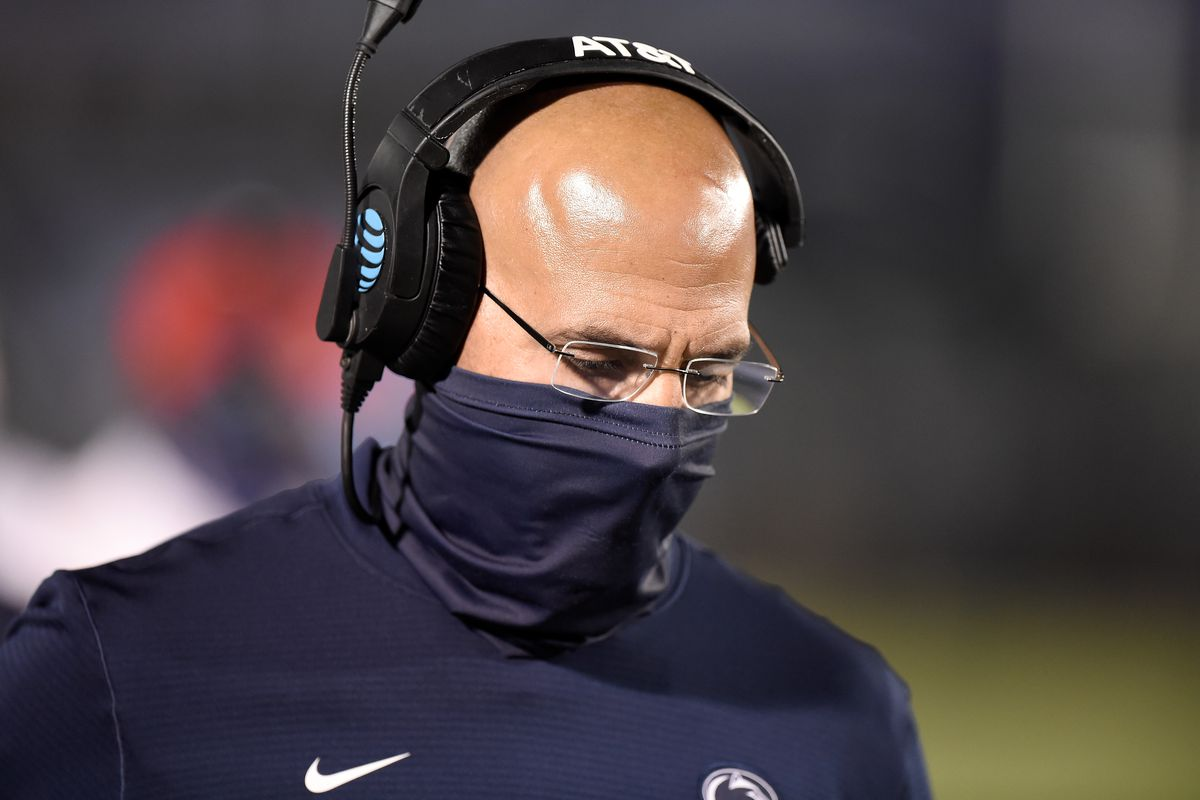 Head coach James Franklin of the Penn State Nittany Lions watches the game against the Maryland Terrapins at Beaver Stadium on November 7, 2020 in State College, Pennsylvania.