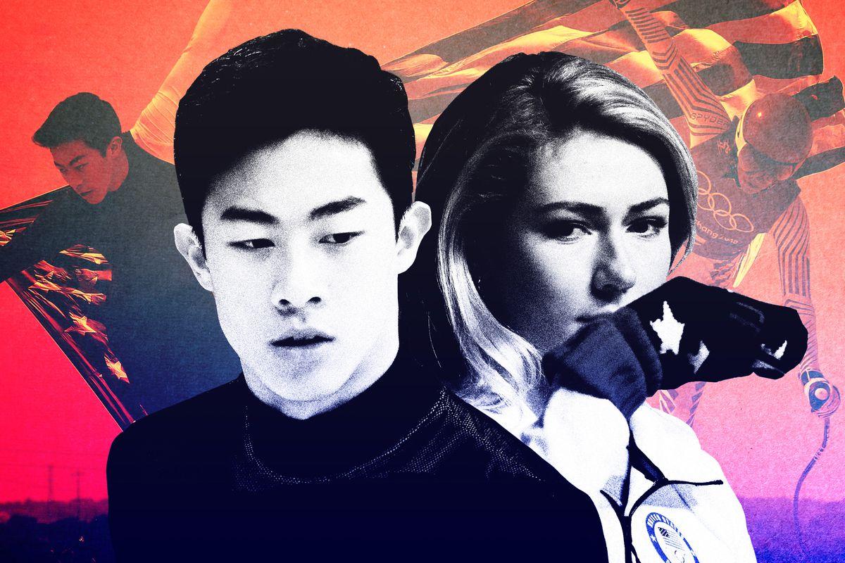 Nathan Chen and Mikaela Shiffrin looking sad