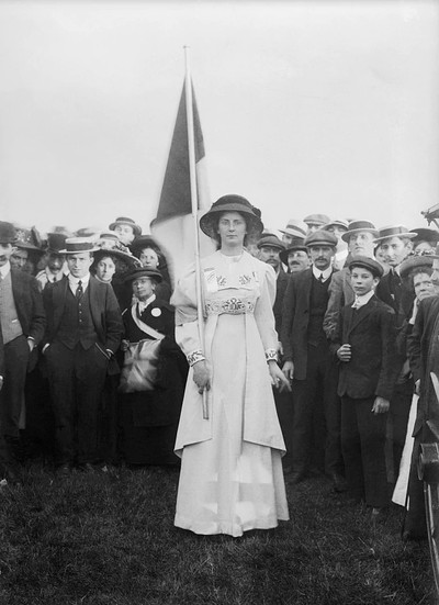 Suffragette Charlotte (Charlie) Marsh at Hyde Park rally, 1908.