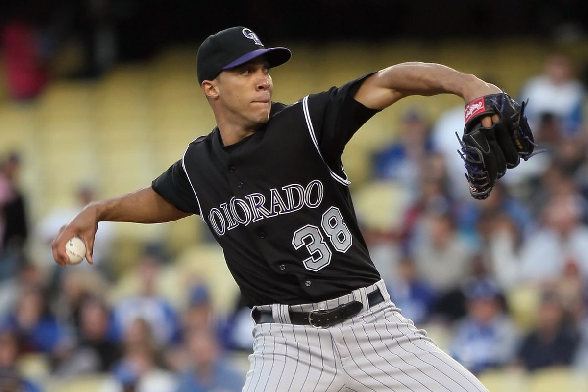 LOS ANGELES, CA - JUNE 01:  Ubaldo Jimenez #38 of the Colorado Rockies pitches against the Los Angeles Dodgers in the second inning at Dodger Stadium on June 1, 2011 in Los Angeles, California.  (Photo by Jeff Gross/Getty Images)
