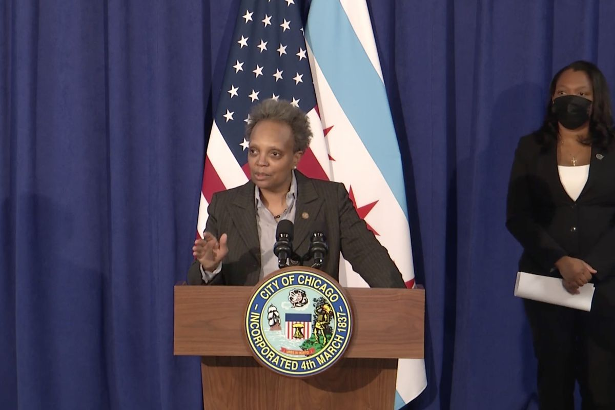 Mayor Lori Lightfoot at a news conference on Friday night, Jan. 29, 2021, discussing talks with the Chicago Teachers Union over a return to in-person learning.