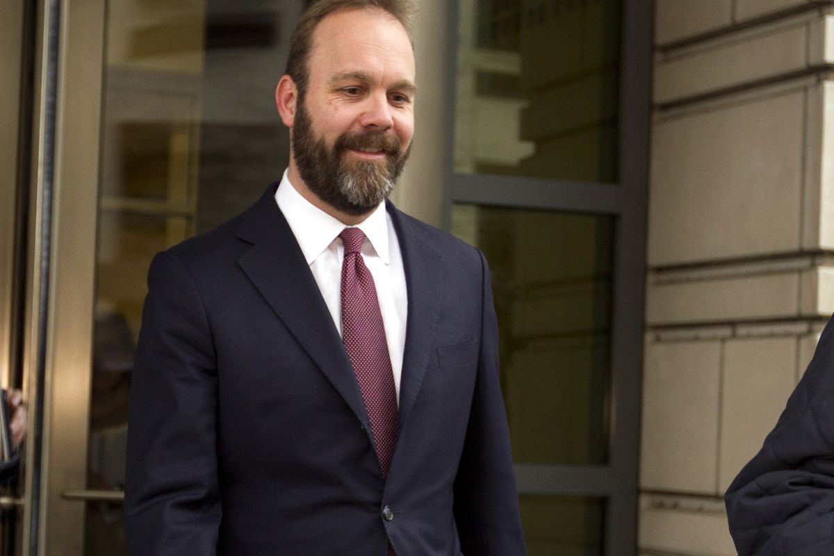 FILE - In this Feb. 23, 2018, file photo, Rick Gates leaves federal court in Washington. Paul Manafort's trial opened this week with a display of his opulent lifestyle and testimony about what prosecutors say were years of financial deception. But the mos