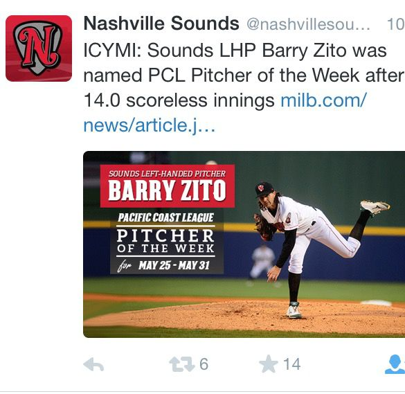 Zito PCL Pitcher of the Week