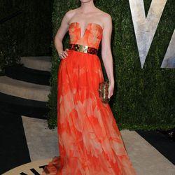 Elizabeth Banks did a faux-hawk and tangerine Alexander McQueen.