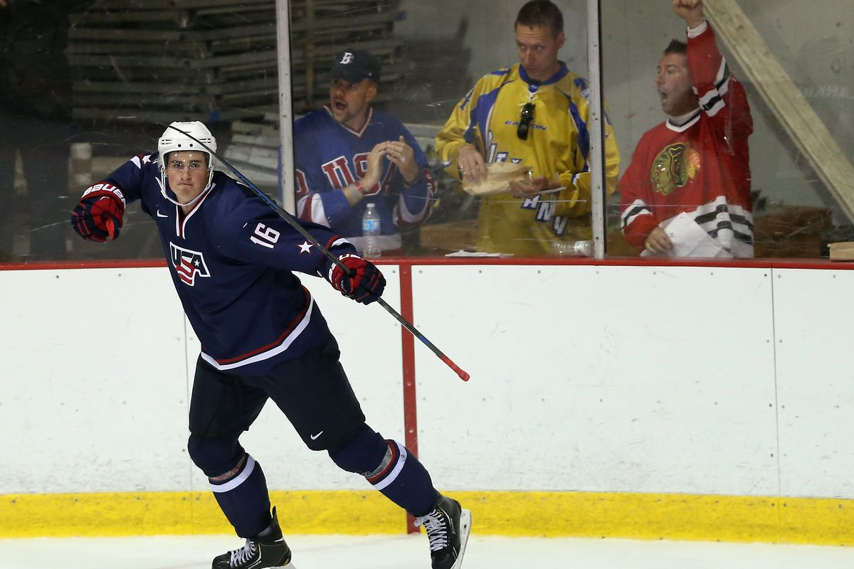 Michigan freshman and 2014 Detroit Red Wings 1st round pick Dylan Larkin was named Team USA's player of the game.