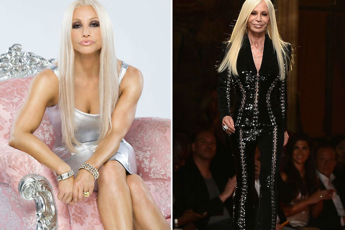 """Right: Gina, via <a href=""""http://www.hollywoodreporter.com/live-feed/house-versace-first-look-gina-620775"""">THR</a>. Left: Donatella, via Getty"""