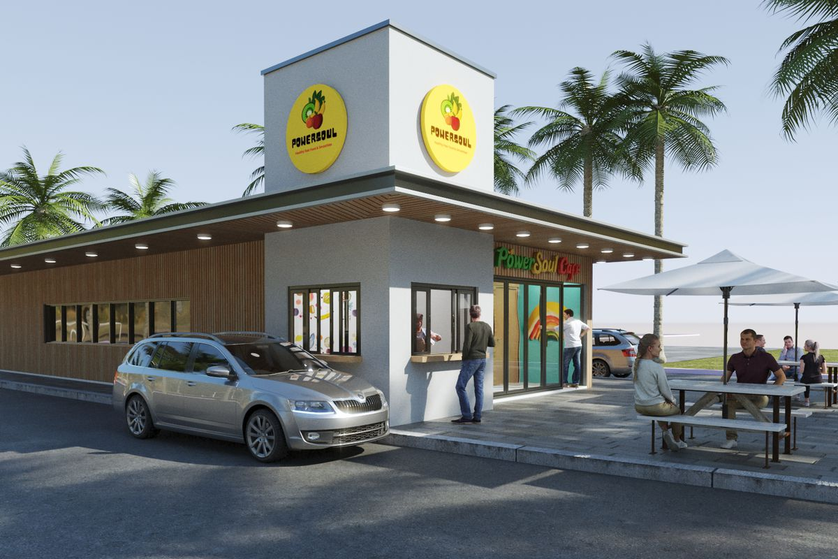 A rendering of a fast-casual restaurant with a yellow circle logo on top