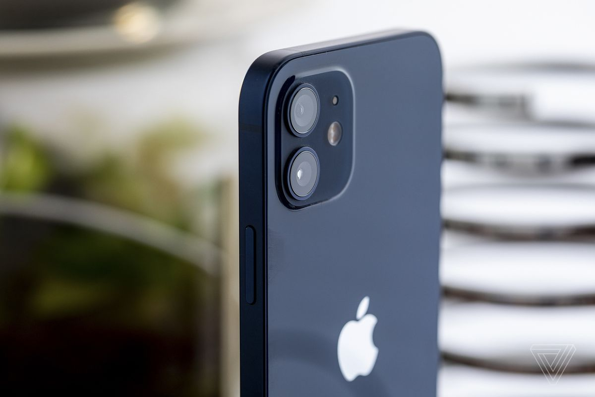 The dual camera system on the iPhone 12.