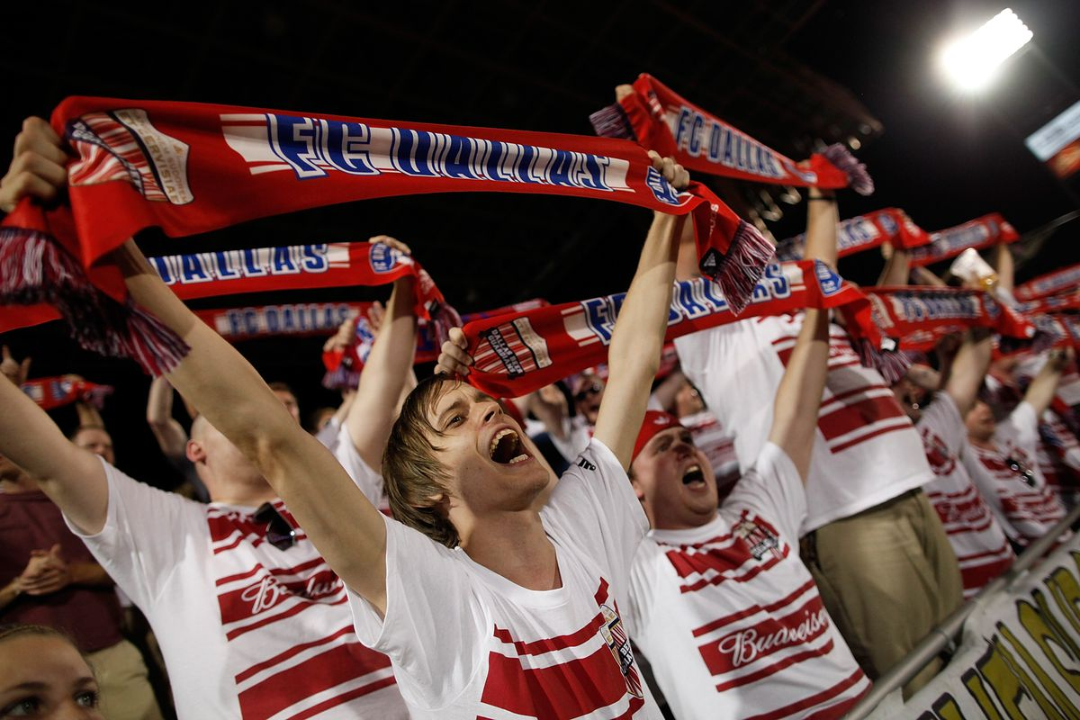 FRISCO, TX - JULY 21:  FC Dallas fans cheer on their team against the Portland Timbers at FC Dallas Stadium on July 21, 2012 in Frisco, Texas. FC Dallas beat the Portland Timbers 5-0. (Photo by Tom Pennington/Getty Images)