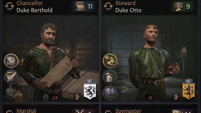 Screen showing four NPC classes serving the player in Crusader Kings 3