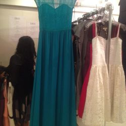 Lace and chiffon cap-sleeved gown, $250