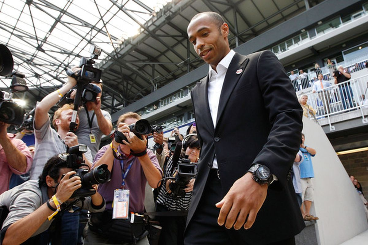 HARRISON NJ - JULY 15:  Thierry Henry walks out onto the field prior to a press conference on July 15 2010 at Red Bull Arena in Harrison New Jersey.  (Photo by Mike Stobe/Getty Images for New York Red Bulls)