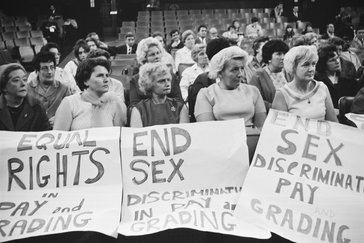 Machinists working for Ford Motors attending  a Women's Conference on equal rights on June 28, 1968.