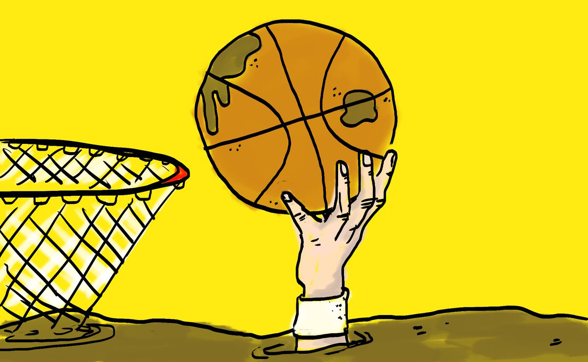 Illustration of a very muddy basketball court