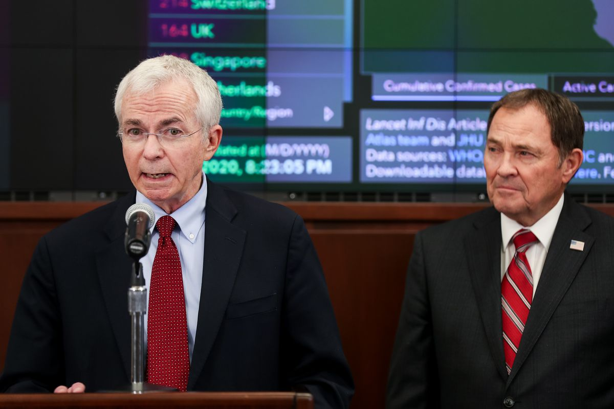 Dr. Joseph Miner, executive director of the Utah Department of Health, left, and Gov. Gary Herbert conduct a press conference in the Emergency Operations Center at the Capitol in Salt Lake City on Friday, March 6, 2020. Officials announced the first known case of COVID-19 diagnosed in Utah.