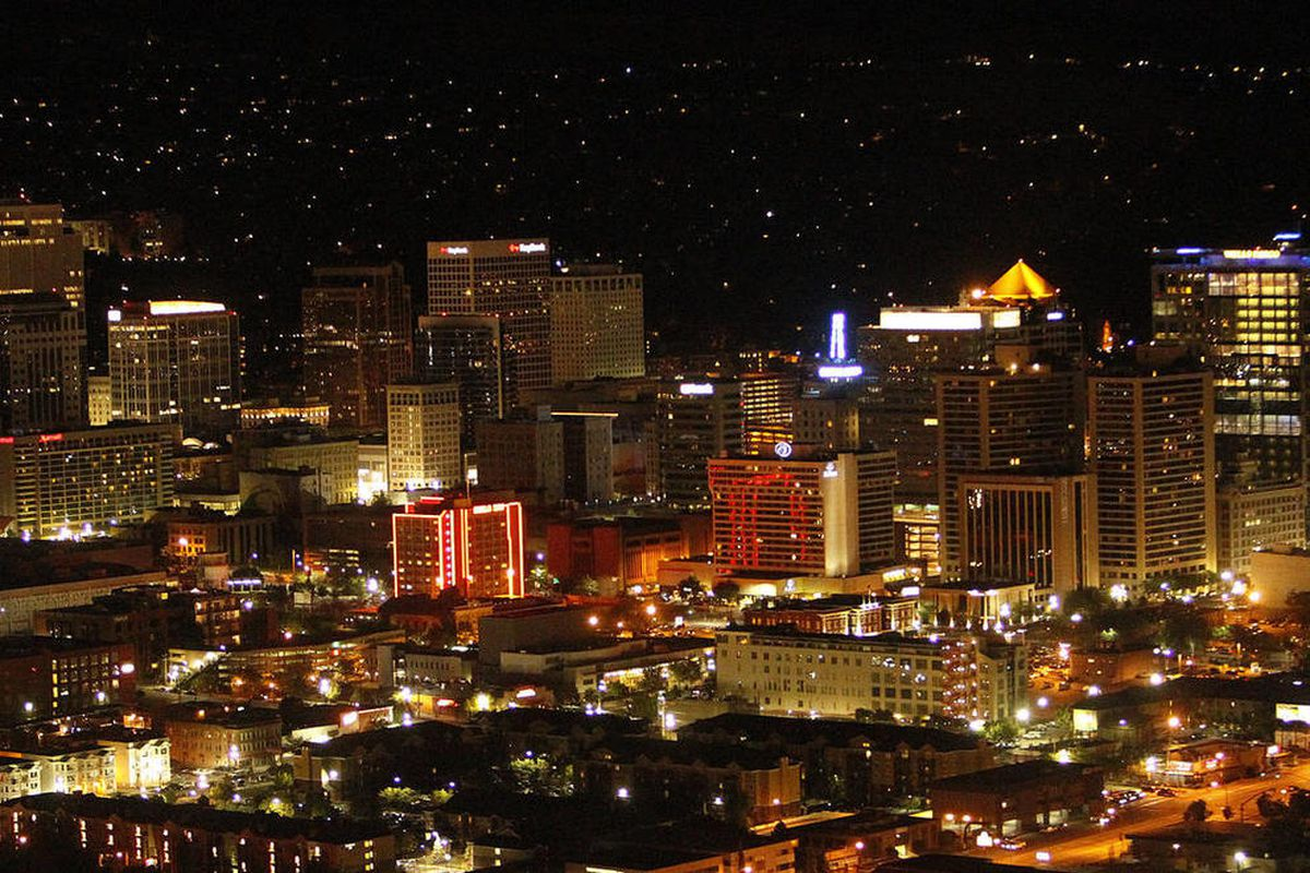 Aerial view of the Salt Lake City skyline, Friday, June 29, 2012.