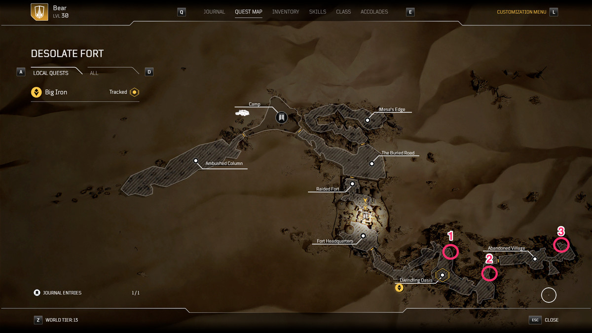 Big Iron quest map for Outriders