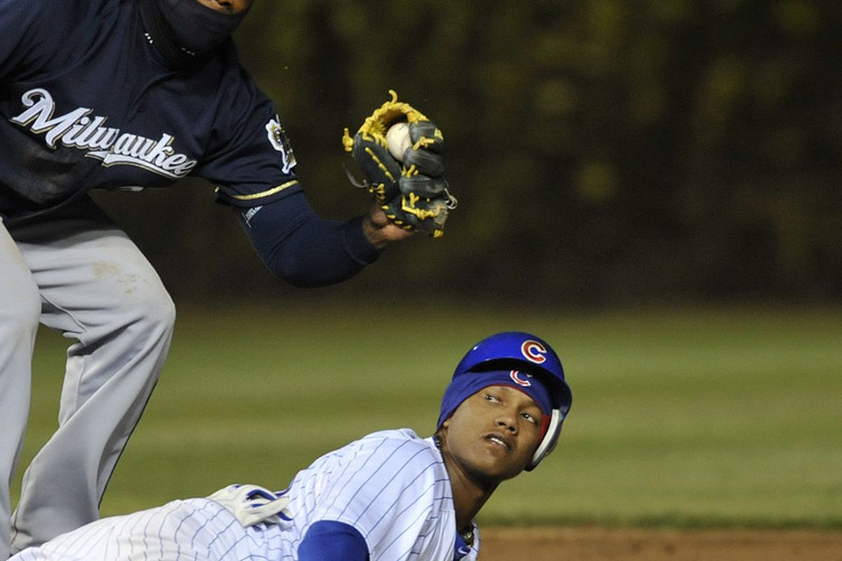 Starlin Castro of the Chicago Cubs slides back into second base safely as Rickie Weeks of the Milwaukee Brewers makes a tag at Wrigley Field in Chicago, Illinois.  (Photo by David Banks/Getty Images)