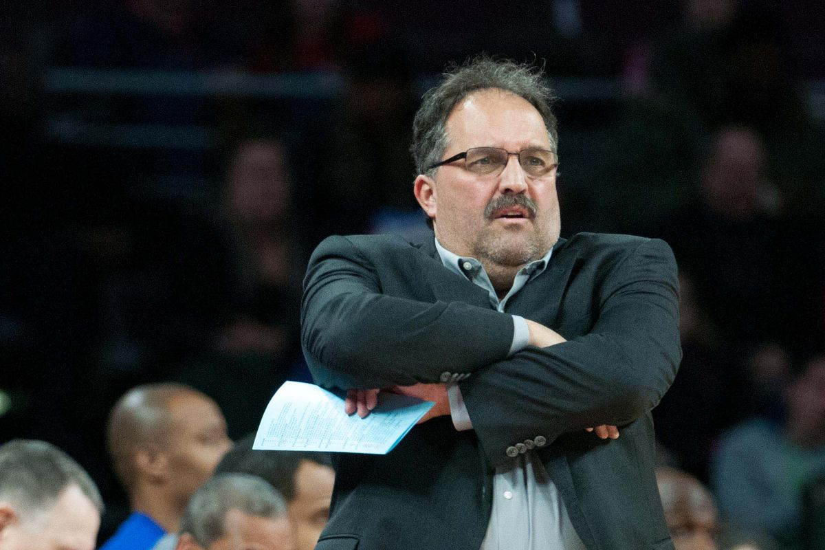 Pistons head coach Stan Van Gundy, and a lot of empty seats.