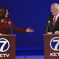 United States Senate candidates from Nebraska, Republican Deb Fischer, left, and Democrat Bob Kerrey hold their second debate in Omaha, Neb., Friday, Sept. 28, 2012.
