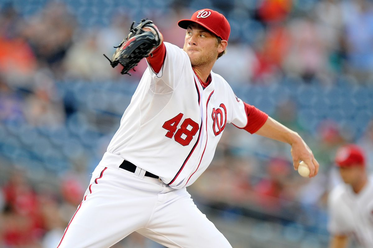WASHINGTON, DC - JULY 17:  Ross Detwiler #48 of the Washington Nationals pitches against the New York Mets at Nationals Park on July 17, 2012 in Washington, DC.  (Photo by Greg Fiume/Getty Images)