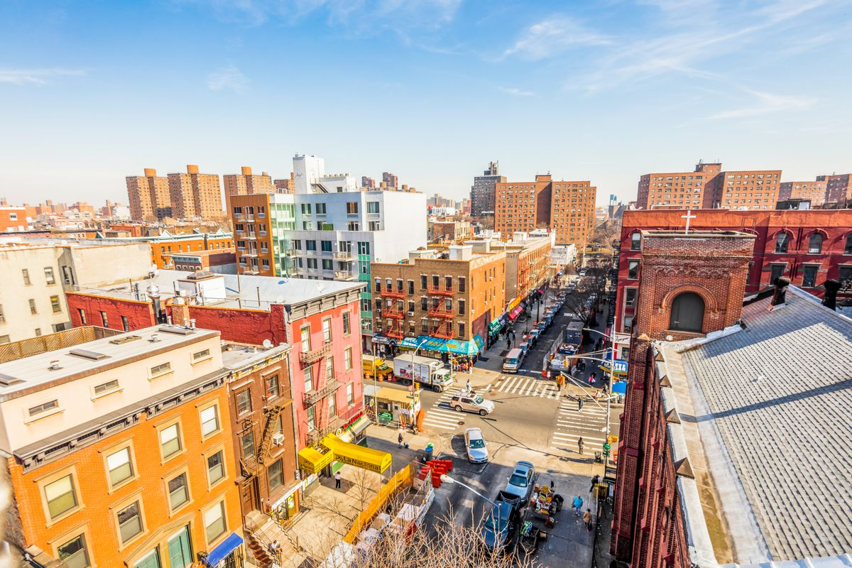 An aerial view of East Harlem.