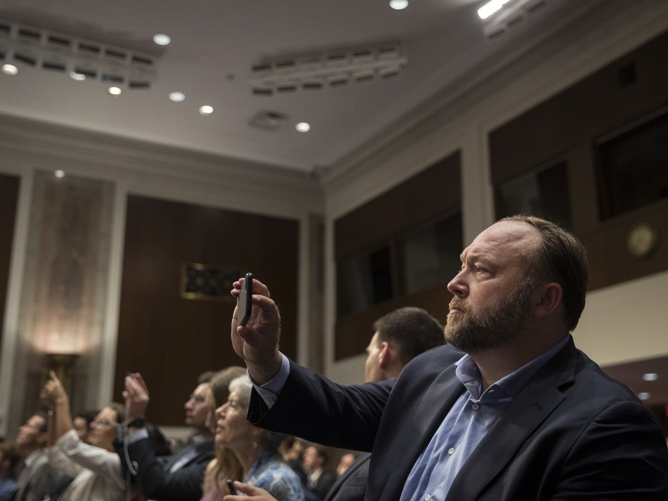 Alex Jones of Infowars at a Senate Intelligence Committee hearing concerning foreign influence operations' use of social media platforms, on Capitol Hill, September 5, 2018, in Washington, DC.