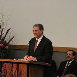 Elder David F. Evans of the Seventy, Missionary Department executive director, addresses seminar for new MTC presidents earlier this year.