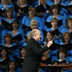 Mack Wilberg directs the Mormon Tabernacle Choir during the morning session of the182nd Semiannual General Conference for The Church of Jesus Christ of Latter-day Saints in the Conference Center in Salt Lake City on Saturday, Oct. 6, 2012.