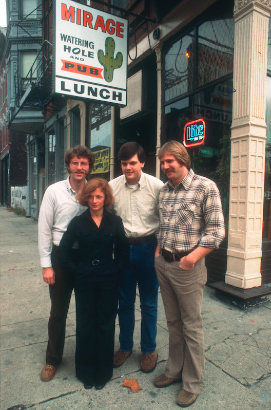 William Recktenwald, (left) alongside Sun-Times reporters Pam Zekman and Zay Smith, and Jeff Allen, who was posing as the owner of the Mirage.