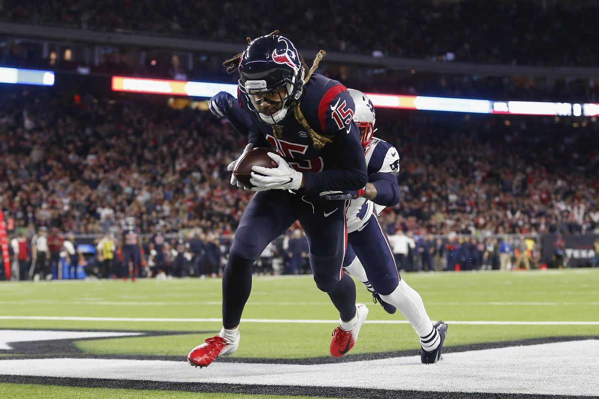 Will Fuller of the Houston Texans looks to catch a pass in the end zone in the second half against the New England Patriots at NRG Stadium on December 1, 2019 in Houston, Texas.