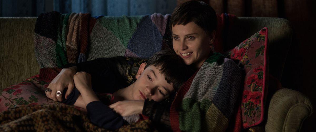 Lewis MacDougall and Felicity Jones in A Monster Calls