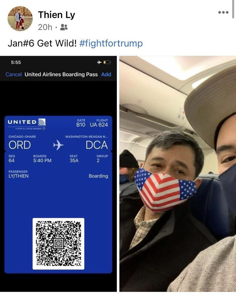 A twitter post. On the left is an image of an airline boarding pass. On the right is a selfie with two men wearing face masks on a plane.