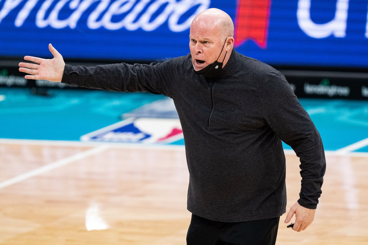 Orlando Magic head coach Steve Clifford reacts to a call during their game against the Charlotte Hornets at Spectrum Center on May 07, 2021 in Charlotte, North Carolina.