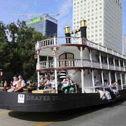 The Latter-day Saint Draper Utah Stake float makes its way along the Days of '47 Parade route in Salt Lake City on Friday, July 23, 2021. The float won both the People's Choice Award and Children's Choice Award.