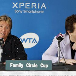 Rosie Casals, left, and Billie Jean King talk about the original nine members of women's professional tennis and the 40-year history of the Family Circle Cup during a news conference at the Family Circle Cup tennis tournament in Charleston, S.C., Saturday, April 7, 2012.  Both Casals and King were part of the original nine.