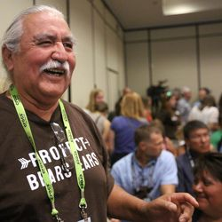 Willie Grayeyes attends a press conference at the Salt Lake Marriott Downtown at City Creek in Salt Lake City on Thursday, Aug. 4, 2016, where representatives of leading sports, ski, health and outdoor companies urged President Barack Obama to permanently protect the Bears Ears region in southeastern Utah.