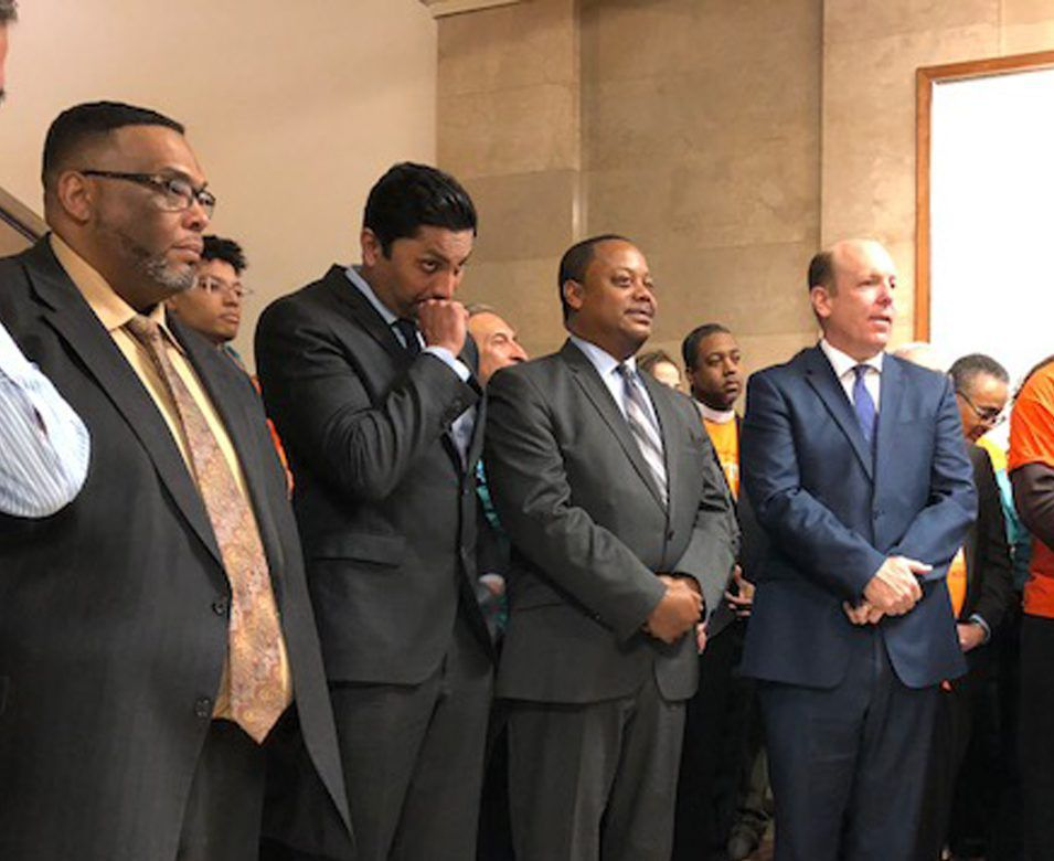 Aldermen (from left) Chris Taliaferro (29th), Ameya Pawar (47th), Roderick Sawyer (6th) and Harry Osterman (48th) at Tuesday's City Hall news conference unveiling a sweeping proposal to empower a seven-member civilian oversight commission to establish pol