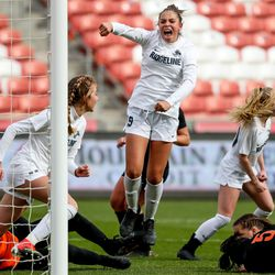 Ridgeline's Adeline Fiefia celebrates after scoring the game-winning goal, giving her team a 3-2 lead over Ogden with under 4 minutes left in the 4A girls soccer state championship game at Rio Tinto Stadium in Sandy on Friday, Oct. 23, 2020.