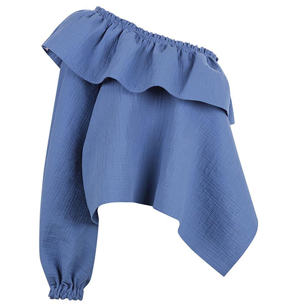 Blue one shoulder long sleeve top