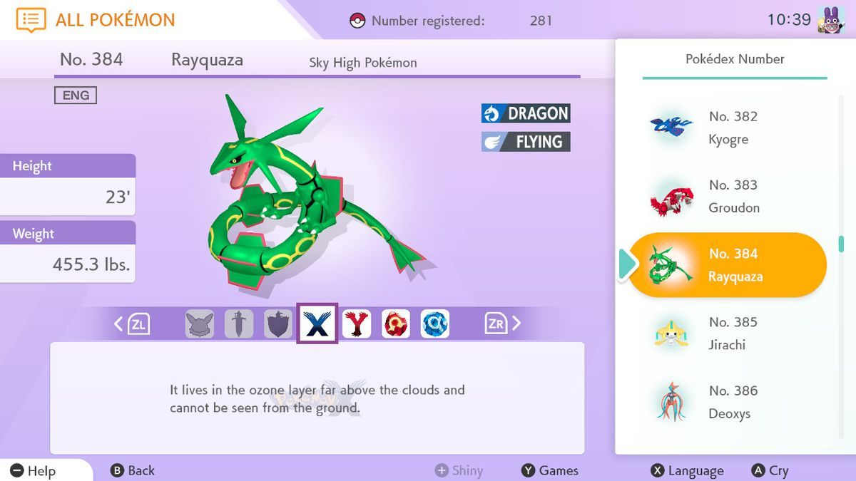 A green serpent-like Pokémon, Rayquaza, sits in the middle of the screen with many descriptors surrounding it, including its height, weight, and type