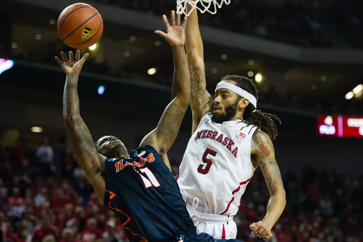 Aaron Cosby of Illinois goes up for a shot against Nebraska's Terran Petteway