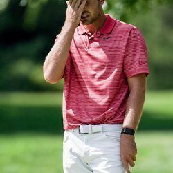 Ryan Ruffels reacts after missing a putt, resulting in a bogey that dropped him out of first place late in round three of the Korn Ferry Tour's Utah Championship at Oakridge Country Club in Farmington on Saturday, June 27, 2020. Ruffels ended the round tied for third.