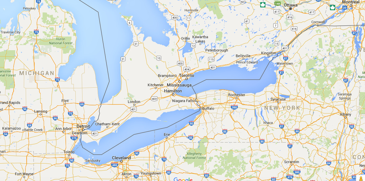 Canada Is A Huge Country Most Of It Is Unfit For Human Habitation - Google-maps-canada-us-border
